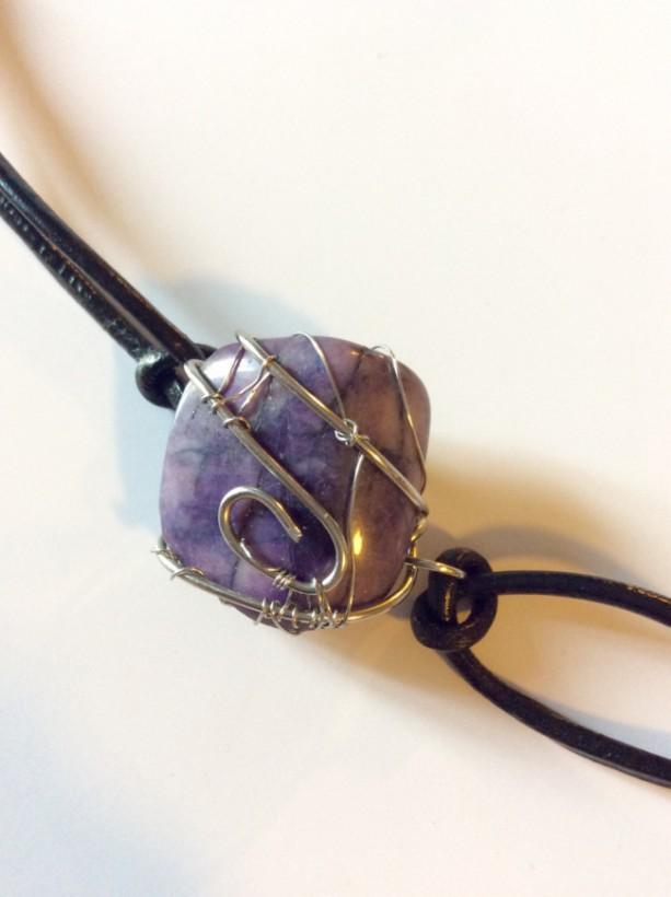 Wire wrapped polished stone leather bracelet, Purple bracelet