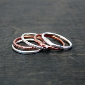 Set of 5 Recycled Sterling Silver & Copper Rings 1.5mm Handmade Forged Band - stacking ring