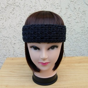 Women's Solid Off Black Summer Headband, Lightweight 100% Cotton Lacy Lace Crochet Knit Boho Simple Basic Head Band, Ready to Ship in 2 Days