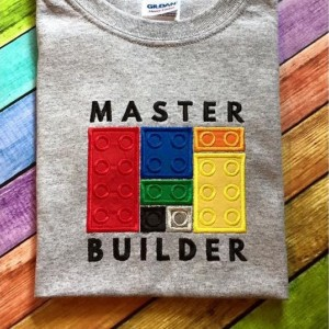 Master Builder Custom Applique Shirt - Building Blocks Shirt - Construction Block Shirt