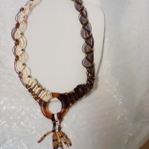 Ladies shades of brown beaded macrame  necklace