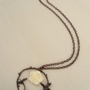 Antique Copper and Cream Rose Necklace