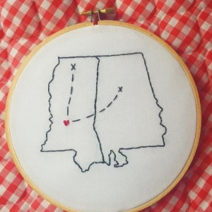Custom 2 State/Country Embroidery Hoop Art