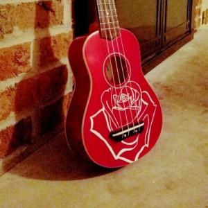 Red Soprano Ukulele instrument deocorated with Hand Painted White Rose, Soprano Ukulele, floral ukulele, Adult Ukulele, ukelele, ukalele