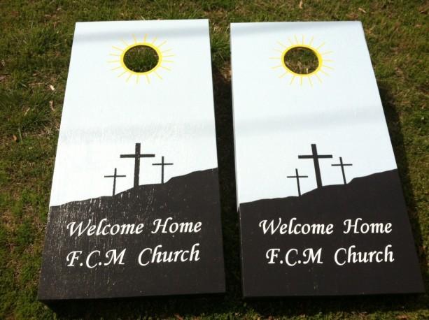 Custom made Cornhole Boards Set--Church