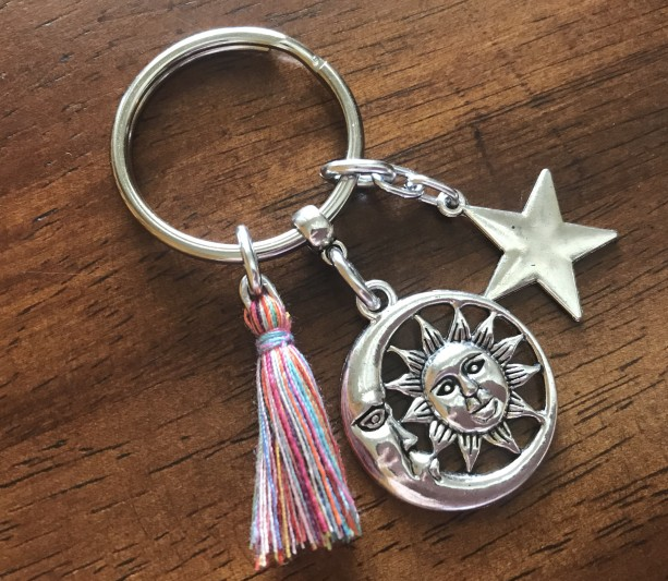 Celestial Tassel Keychain, Celestial Keyring, Bag Charm, Purse Clip, Car Accessories, Gift for Her, Moon and Star Keychain, Graduation Gift