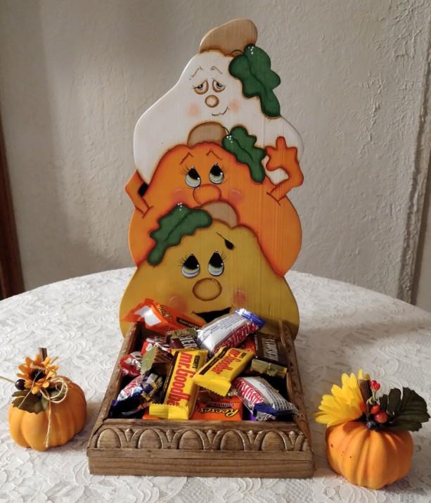 """Candy Corn Pumpkins Pumpkin Treat Box  13"""" tall Handmade"""