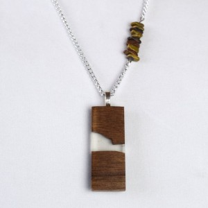 Wood and Resin Pendant - Handmade with Stone Accented Chain