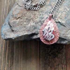 Teardrop Crazy Lace Agate and Copper Metal Clay Pendant