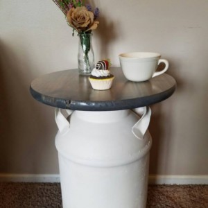 CUSTOM Vintage Milk Can End Table