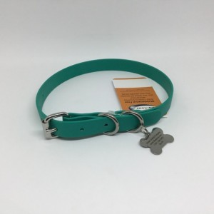 Small Beta BioThane Adjustable Flat Dog Collar with Stainless Steel Hardware