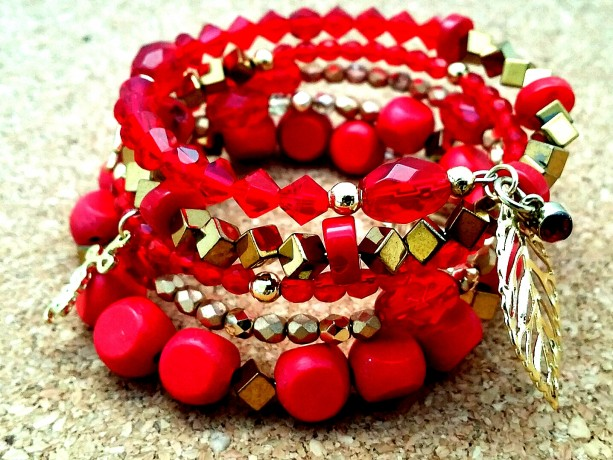 Memory Wire Bracelet, Chunky Aurora Red Gold Boho Wrap Beaded Bracelet, Trendy Valentines Day Gift Guide Items for Moms Daughters Sisters