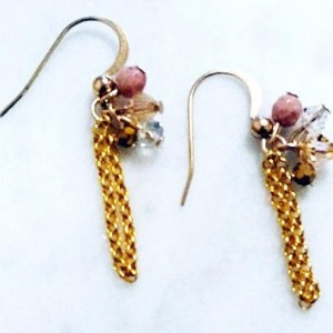 Rhodonite Crystal Gold Chain Earrings, One of A Kind jewelry, Pink Dangle Earrings, Beaded Earrings, Everyday Wear, Gift for Her, SaleGift