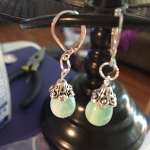 Stripe dangle glass earrings