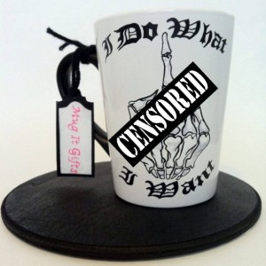 I Do What I Want Skeleton Middle Finger Hand Painted 14 oz Ceramic Coffee Mug Cup