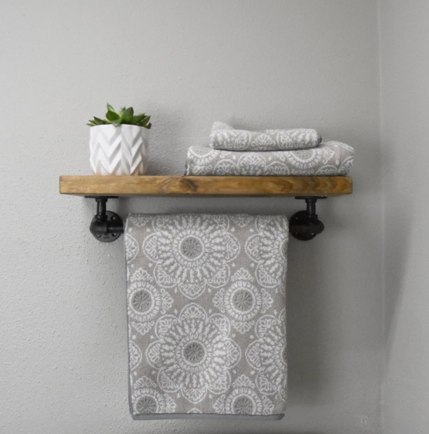 "Rustic 7.25"" Depth Bathroom Towel Rack with Top Shelf, Floating Shelves with Towel Bar Wooden Bathroom Wall Shelf Rustic Floating Pipe Rack"