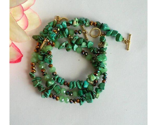 Verdant ~ Beaded Bracelet Set of 3 ~ Bold Bracelet ~ Chunky Bracelet ~ Statement Bracelets ~ Gift for Her
