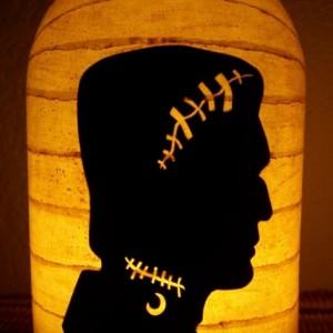 New Grungy Primitive Halloween Frankenstein Silhouette Lantern Candle Holder Mantel Porch Table Centerpiece Wedding Gift