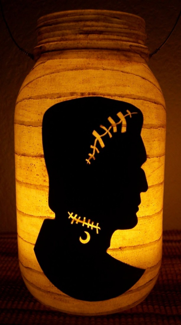 New Grungy Primitive Halloween Frankenstein Silhouette Lantern Candle Holder Mantel Porch Table Centerpiece Wedding Gift