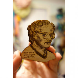 Mrs Doubtfire Brooch Laser engraved wood