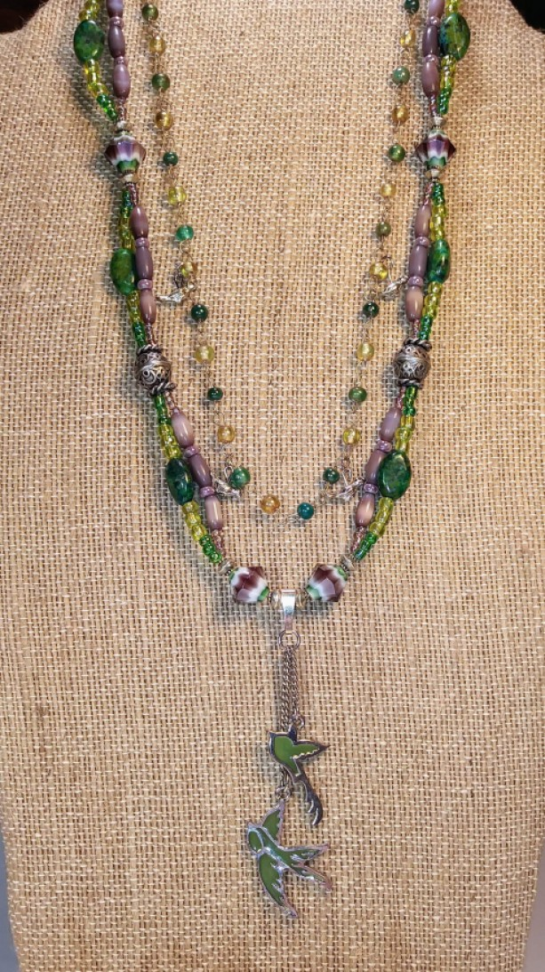Purple and Green Bird Necklace