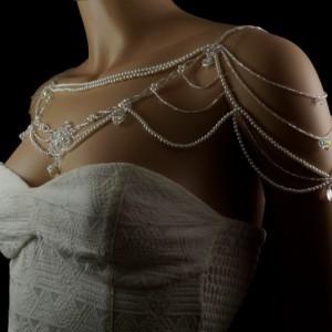 White patina Swarovski crystal pearl beaded bridal shoulder necklace. silver pearl shoulder necklace. crystal pearl bridal shoulder necklace