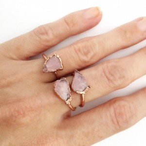 Raw Rose Quartz Ring, Copper Rose Quartz Ring, Pink Stone Ring