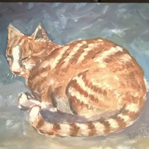 Orange Cat Acrylic Painting 9x12 inch