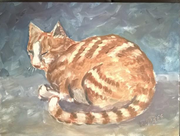 Orange Cat Acrylic Painting 9x12 inch