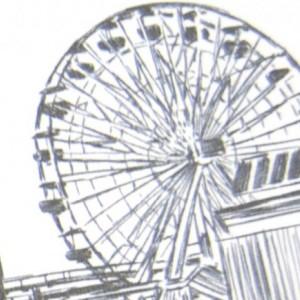 Santa Monica Pier Skyline Wedding Save the Date Cards (set of 25 cards)