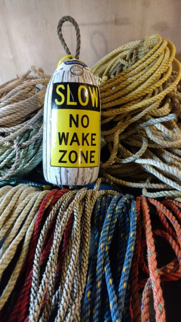Slow no wake zone! Decorative Maine lobster buoy!