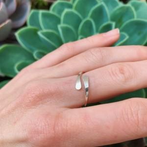Sterling Silver Overlap Ring, 14 Gauge