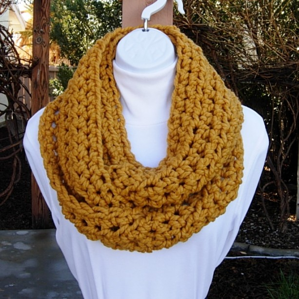 Women's Mustard INFINITY LOOP SCARF, Solid Gold Dark Yellow Cowl, Soft Wool Blend Crochet Knit Winter Circle, Neck Warmer..Ready to Ship in 3 Days
