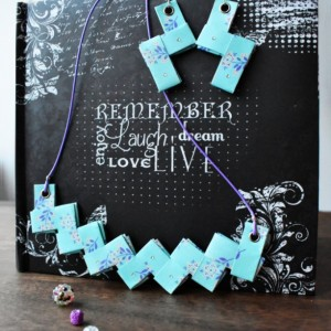 Origami Necklace Swarovski Crystal. Blue and Purple Paper Necklace and Earrings. Handmade Paper Origami Necklace.