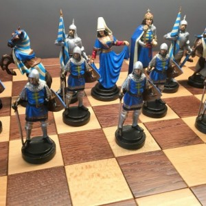 Handmade Tin Chess set Hungarian - hand painted