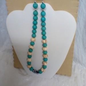 """16 inch Bone & Gemstone beaded necklace"""