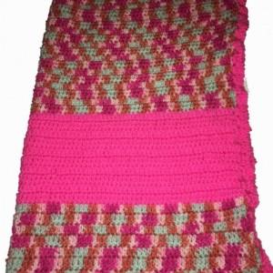 Afghan, Crochet Blanket, Lap Blanket, Baby Blanket , Throw Blanket , Baby Shower Gift pink and hot Pink