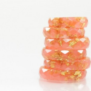 Resin Ring - Coral Faceted Eco Resin Ring with Gold Flakes