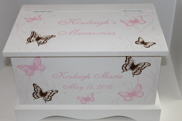 Keepsake box chest memory box personalized - Pink and Brown Butterfly Meadow baby gift