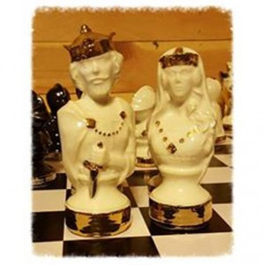 Handcrafted Ceramic Dragon Lore Chess Set, Detail in 22kt Gold