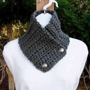 Charcoal Gray Winter NECK WARMER SCARF with Silver Metal Buttons, Extra Soft 100% Acrylic Crochet Knit Buttoned Solid Grey Cowl..Ready to Ship in 3 Days