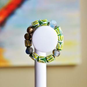 African  trade bead  bracelet, African beaded bracelet, African stretch bead bracelet, African jewelry, African Unisex beaded bracelet