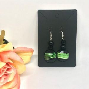 Green/Black Circle Drop Earrings