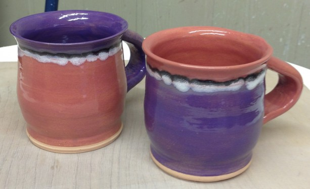 Purple and Red Striped Coffee Mugs