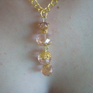 Pink and Gold Princess Crown Bottle Necklace and Earring Set