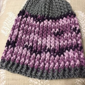 Girls purple and grey beanie hat