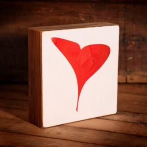 Valentines Heart Reclaimed Wood Block