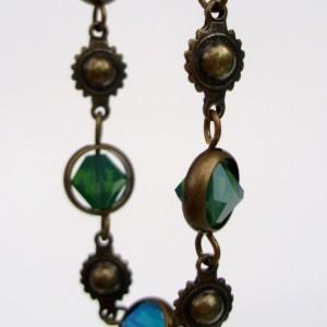 Peacock Blue And Green Swarovski Crystal And Brass Bracelet