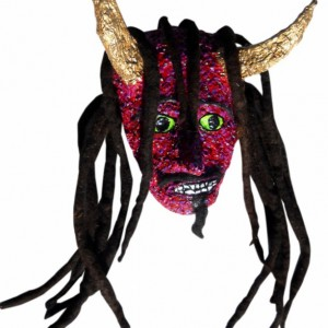 Red Devil with Gold Horns and Dreadlocks Mask/Wall Art - One of a kind by Anthony Saldivar