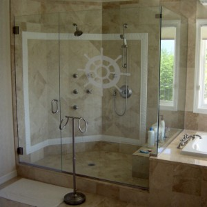 Ships Wheel Two - Coastal Design Series - Etched Decal - Shower Doors, Sliding Glass Doors & Windows - Available in different sizes